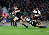 4th November 2017, Twickenham Stadium, Twickenham, England; Autumn International Rugby, Barbarians versus New Zealand; Nathan Harris of New Zealand gets away from George Bridge of Barbarians