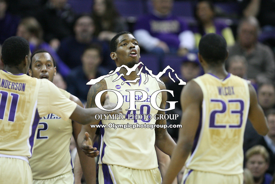 February 12, 2014:   Washington's Shawn Kemp Jr against Stanford.  Washington defeated Stanford 64-60 at Alaska Airlines Arena in Seattle, Washington.