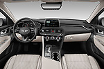 Stock photo of straight dashboard view of a 2019 Genesis G70  Prestige 4 Door Sedan