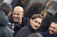 Calcio, Serie A: Inter Milano - AS Roma, Giuseppe Meazza stadium, December 6, 2019.<br /> Former As Roma captain Francesco Totti (r) and former player and coach Luigi Di Biagio (l) attend the Italian Serie A football match between Inter and Roma at Giuseppe Meazza (San Siro) stadium, on December 6, 2019.<br /> UPDATE IMAGES PRESS/Isabella Bonotto