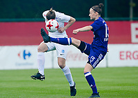 20180501 - TUBIZE , BELGIUM : Anderlecht's Elke Van Gorp (r) pictured in a duel with Genk's Lore Vanschoenwinkel (left) during a womensoccer game between  RSC Anderlecht Dames and KRC Genk Ladies , during play-off 1 , at the Euro 2000 Center in Tubize , tuesday 1 st May 2018 . PHOTO SPORTPIX.BE | DAVID CATRY