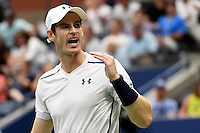 Andy Murray reacts during play against Andy Murray in the Men's Quarter-Finals of the US Open 2016 at the Billie Jean King National Tennis Centre, Queens, New York on the 7th September 2016