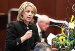 Nevada Sen. Barbara Cegavske, R-Las Vegas, speaks on the Senate floor at the Legislature in Carson City, Nev. on Thursday, Feb. 10, 2011. .Photo by Cathleen Allison