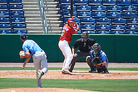 Clearwater Threshers third baseman Mitch Walding (10) awaits a pitch from Hunter Wood (3) while at bat in front of catcher Mac James (8) and umpire Mike Savakinas during a game against the Charlotte Stone Crabs on April 13, 2016 at Bright House Field in Clearwater, Florida.  Charlotte defeated Clearwater 1-0.  (Mike Janes/Four Seam Images)