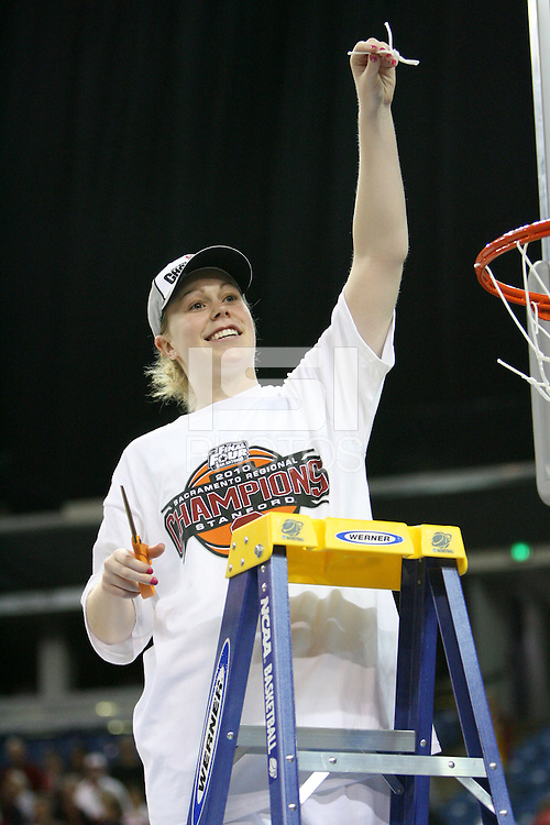SACRAMENTO, CA - MARCH 29: Lindy La Rocque cuts the net after Stanford's 55-53 win over Xavier in the NCAA Women's Basketball Championship Elite Eight on March 29, 2010 at Arco Arena in Sacramento, California.