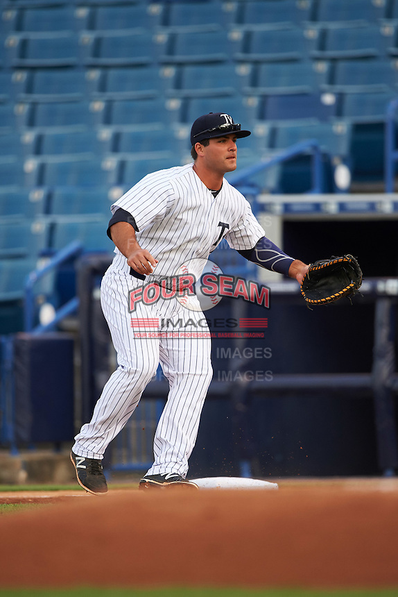 Tampa Yankees first baseman Mike Ford (25) during a game against the Bradenton Marauders on April 11, 2016 at George M. Steinbrenner Field in Tampa, Florida.  Tampa defeated Bradenton 5-2.  (Mike Janes/Four Seam Images)