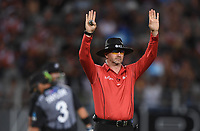 Umpire Wayne Knights signals a 6.<br /> New Zealand Black Caps v Australia.Tri-Series International Twenty20 cricket final. Eden Park, Auckland, New Zealand. Wednesday 21 February 2018. &copy; Copyright Photo: Andrew Cornaga / www.Photosport.nz