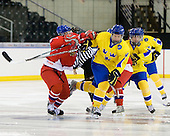 ?, Gabriel Landeskog (Sweden - 14), Calle Järnkrok (Sweden - 25) - Sweden defeated the Czech Republic 4-2 at the Urban Plains Center in Fargo, North Dakota, on Saturday, April 18, 2009, in their final match of the 2009 World Under 18 Championship.