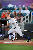 Staten Island Yankees designated hitter Kyle Gray (18) flies out during a game against the Aberdeen IronBirds on August 23, 2018 at Leidos Field at Ripken Stadium in Aberdeen, Maryland.  Aberdeen defeated Staten Island 6-2.  (Mike Janes/Four Seam Images)