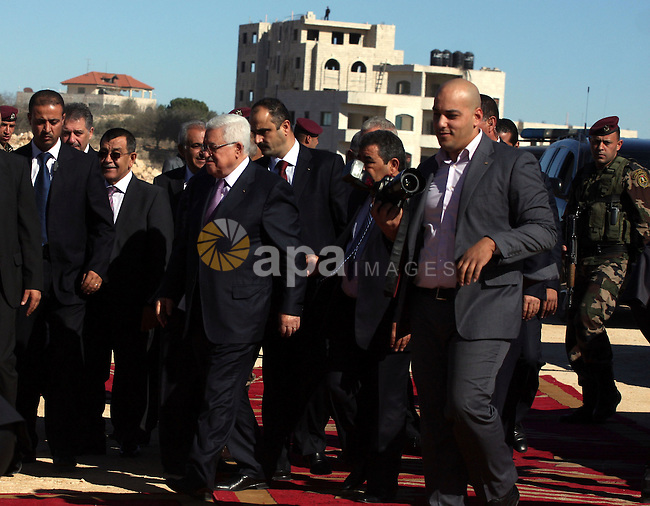 Palestinian President Mahmoud Abbas arrives to the West bank village of Surda, north of Ramallah 01 December 2010. Abbas arrived to lay the foundation stone for the new Palace of the Presidency in the West Bank village. Photo by Issam Rimawi