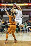 guard Brianna Taylor (20) defends guard Alexis Prince (12) during Big 12 women's basketball championship final, Sunday, March 08, 2015 in Dallas, Tex. (Dan Wozniak/TFV Media via AP Images)
