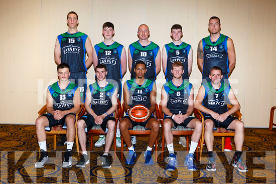 Garvey's Tralee Warriors l officially launch their 2017/2018 Super League season at the Brandon Hotel on Monday. Pictured, Patrick McCarthy, Garry Murphy, Trae Pemberton, Darragh O'Hanlon, Cathal O'Sullivan,  Kieran Donaghy, Daire Kennelly, Dusan Bogdanovic, Goran Pantovic, Paul McMahon,