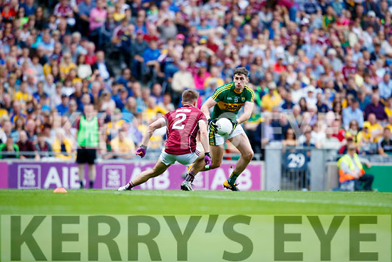 Paul Geaney Kerry in action against Eoghan Kerin Galway in the All Ireland Senior Football Quarter Final at Croke Park on Sunday.