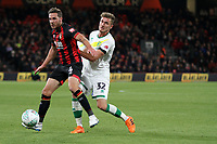 Dan Gosling of Bournemouth under pressure from Dennis Srbeny of Norwich City during AFC Bournemouth vs Norwich City, Caraboa Cup Football at the Vitality Stadium on 30th October 2018