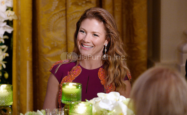 Mrs. Sophie Gr&Egrave;goire Trudeau smiles during a state dinner at the White House honoring herself and Prime Minister Justin Trudeau of Canada March 10, 2016 in Washington, DC. <br /> Credit: Olivier Douliery / Pool via CNP/MediaPunch