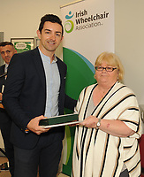 Former Kerry footballer and  Dancing with the Stars winner Aidan OÕMahony awith Marian Kearney at the opening of the Irish Wheelchair Association new Community Centre at The Reeks Gateway, Killarney on Friday. Picture: macmonagle.com