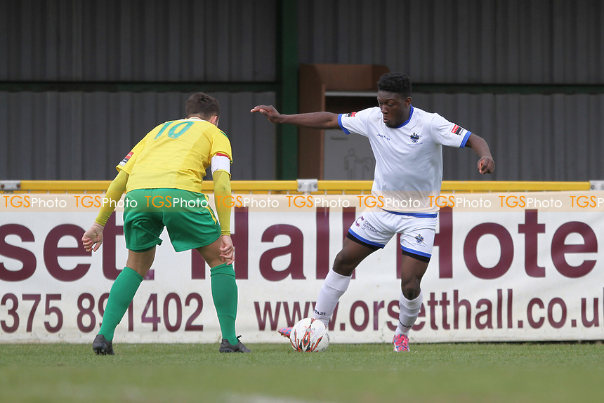 Ayodeji Olukoga of Romford runs with the ball during Thurrock vs Romford, Ryman League Division 1 North Football at Ship Lane on 17th April 2017