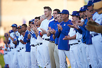 South Bend Cubs on field presentation during a game against the Cedar Rapids Kernels on June 5, 2015 at Four Winds Field in South Bend, Indiana.  South Bend defeated Cedar Rapids 9-4.  (Mike Janes/Four Seam Images)