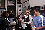 Berkeley CA Lively junior high English teacher chatting with students after class