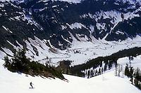 Rob Hahn sking towards Napeequa River, Glacier Peak National Park, Washington, USA