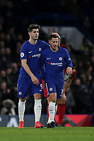 Alvaro Morata congratulates Eden Hazard after scoring Chelsea's third goal during Chelsea vs West Bromwich Albion, Premier League Football at Stamford Bridge on 12th February 2018