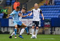 Bolton Wanderers' Dennis Politic (centre) competing with  Coventry City's Zain Westbrooke <br /> <br /> Photographer Andrew Kearns/CameraSport<br /> <br /> The EFL Sky Bet Championship - Bolton Wanderers v Coventry City - Saturday 10th August 2019 - University of Bolton Stadium - Bolton<br /> <br /> World Copyright © 2019 CameraSport. All rights reserved. 43 Linden Ave. Countesthorpe. Leicester. England. LE8 5PG - Tel: +44 (0) 116 277 4147 - admin@camerasport.com - www.camerasport.com