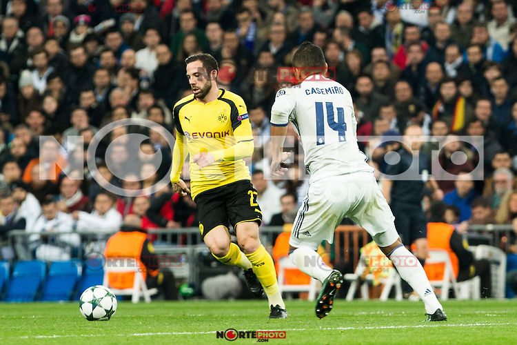 Borussia Dortmund Gonzalo Castro, Real Madrid's Carlos Henrique Casemiro during Champions League match between Real Madrid and Borussia Dortmund  at Santiago Bernabeu Stadium in Madrid , Spain. December 07, 2016. (ALTERPHOTOS/Rodrigo Jimenez) /NortePhoto.com