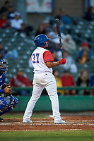 Stockton Ports designated hitter Melvin Mercedes (37) at bat during a California League game against the Rancho Cucamonga Quakes at Banner Island Ballpark on May 16, 2018 in Stockton, California. Rancho Cucamonga defeated Stockton 6-3. (Zachary Lucy/Four Seam Images)