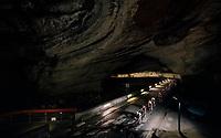 rolling through a huge dark cave: the 'Grotte du Mas-d'Azil'<br /> <br /> Stage 16: Carcassonne &gt; Bagn&egrave;res-de-Luchon (218km)<br /> <br /> 105th Tour de France 2018<br /> &copy;kramon