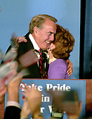 Former United States Senator Bob Dole (Republican of Kansas), the 1996 Republican Party candidate for President of the United States, hugs his wife, Elizabeth afer making his concession speech to supporters at an Election Night Party sponsored by the Republican National Committee at the Renaissance Hotel in Washington, DC on Tuesday, November 5, 1996.  <br /> Credit: Ron Sachs / CNP