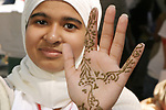 "Reema Bilal IA student 9th grade.<br /> Has her  decorated (at the event) in the decorative fashion called ""Hena"" - usually done for a celebration-  Reema had it done in celebration of her brothers birthday"