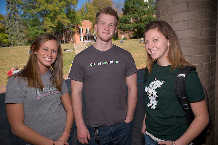 Campus shots: Amy Swearingen,Ryan Dease and Hannah Tangi (green)