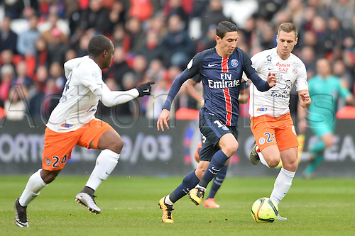 05.03.2016. Paris, France. French League 1 football. Paris St Germain versus Montpellier.  ANGEL DI MARIA (psg) outpaces KEVIN BERIGAUD (mon)