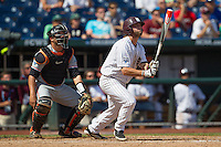 Mississippi State third baseman Alex Detz (3) follows through on his swing during Game 11 of the 2013 Men's College World Series against the Oregon State Beavers on June 21, 2013 at TD Ameritrade Park in Omaha, Nebraska. The Bulldogs defeated the Beavers 4-1, to reach the CWS Final and eliminating Oregon State from the tournament. (Andrew Woolley/Four Seam Images)