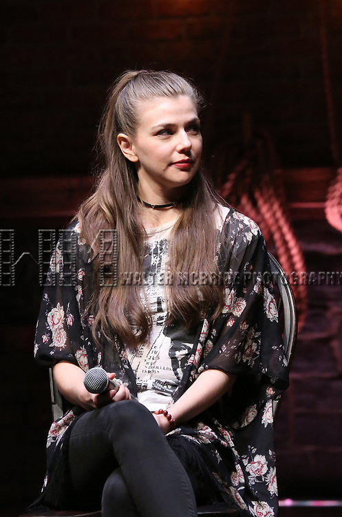 "Eliza Ohman from the 'Hamilton' cast during a Q & A before The Rockefeller Foundation and The Gilder Lehrman Institute of American History sponsored High School student #EduHam matinee performance of ""Hamilton"" at the Richard Rodgers Theatre on 5/10/2017 in New York City."
