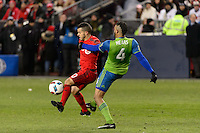 Toronto, ON, Canada - Saturday Dec. 10, 2016: Sebastian Giovinco, Tyrone Mears during the MLS Cup finals at BMO Field. The Seattle Sounders FC defeated Toronto FC on penalty kicks after playing a scoreless game.