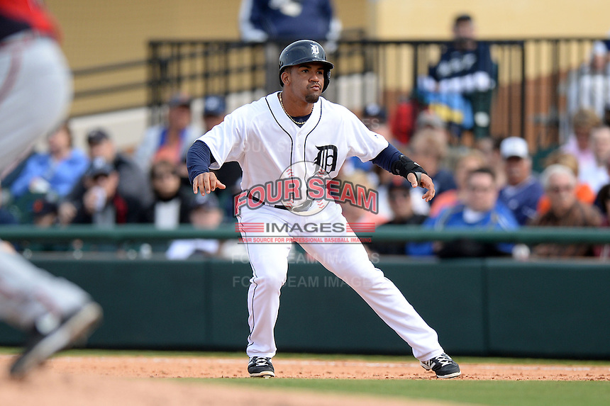 Detroit Tigers infielder Devon Travis (74) during a spring training game against the Atlanta Braves on February 27, 2014 at Joker Marchant Stadium in Lakeland, Florida.  Detroit defeated Atlanta 5-2.  (Mike Janes/Four Seam Images)