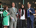 "NEW YORK, NY - JUNE 14: Kelly Hansen of Foreigner with Hosts Steve Doocy and Brian Kilmeade  at ""FOX & Friends"" All American Concert Series outside of FOX Studios on June 14, 2013 in New York City.  (Photo by Walter McBride/FilmMagic)"