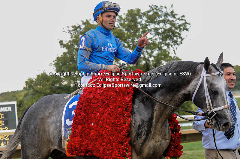 Frosted (no. 3), ridden by Joel Rosario and trained by Kiaran McLaughlin, wins the grade 1 Pennsylvania Derby  for three year olds on September 19, 2015 at Parx Racing in Bensalem (Sophie Shore/Eclipse Sportswire)