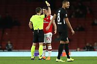28th November 2019; Emirates Stadium, London, England; UEFA Europa League Football, Arsenal versus Frankfurt; Granit Xhaka is shown a yellow card by the refereee - Editorial Use