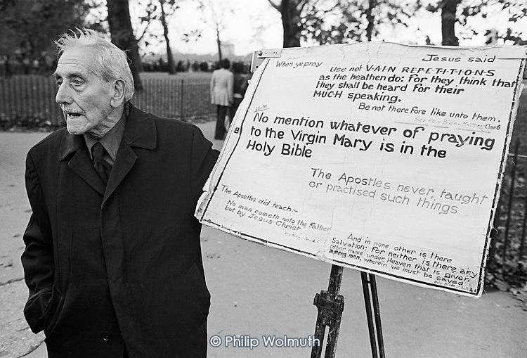 Anti-Catholic Christian preacher, Speakers Corner, November 1977.