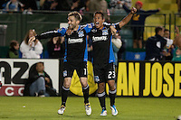 Bobby Convey (left) celebrates his goal with Anthony Ampaipitakwong (right). The San Jose Earthquakes defeated the New England Revolution 2-1 at Buck Shaw Stadium in Santa Clara, California on May 21st, 2011.