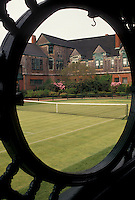 AJ4408, Newport, Tennis Hall of Fame, tennis court, Rhode Island, Looking through an oval window at the grass court at the International Tennis Hall of Fame Museum in Newport in the state of Rhode Island.