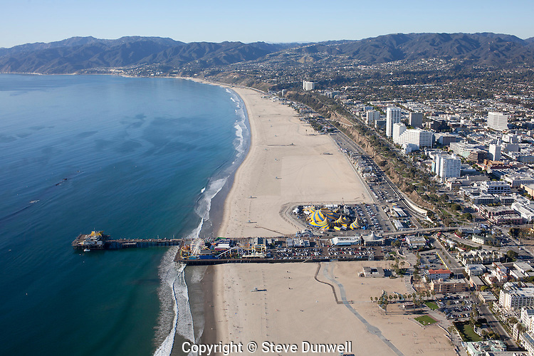beach and pier aerial view, Santa Monica, CA looking towards Malibu