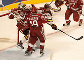 Merrick Madsen (Harvard - 31), Riley Tufte (UMD - 27), Jake Horton (Harvard - 19) - The University of Minnesota Duluth Bulldogs defeated the Harvard University Crimson 2-1 in their Frozen Four semi-final on April 6, 2017, at the United Center in Chicago, Illinois.