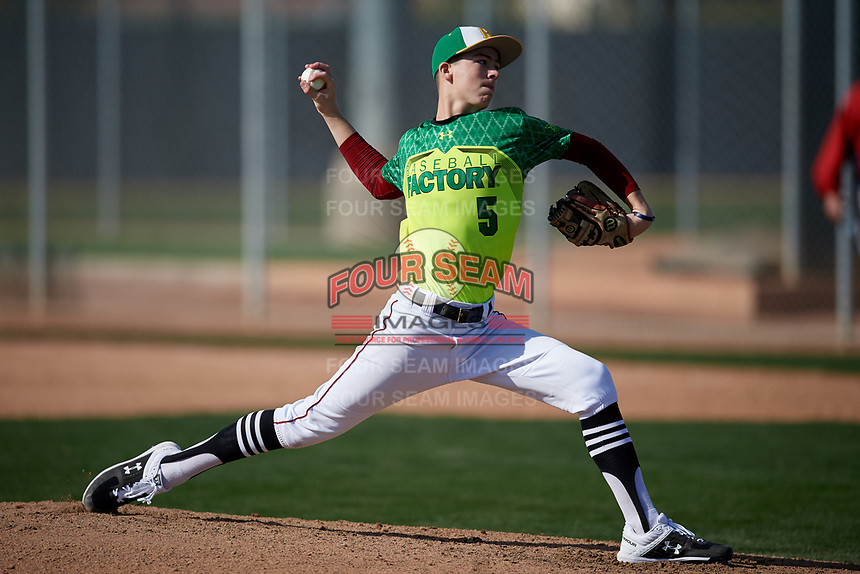 Matthew McMahon during the Under Armour All-America Pre-Season Tournament, powered by Baseball Factory, on January 19, 2019 at Fitch Park in Mesa, Arizona.  Matthew McMahon is a right handed pitcher / first baseman from Santa Rosa, California who attends Cardinal Newman High School.  (Mike Janes/Four Seam Images)