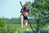 FIERLJEPPEN: JOURE: Accommodatie Koarte Ekers, Fierljepvereniging De Lege Wâlden Joure, 26-05-2012, 1e Klas wedstrijd, Junioren A, Sytse Bokma, ©foto Martin de Jong