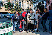 New York, NY 19 September 2014 - Lines wrap around the block waiting for the Soho Apple store  release of iPhone 6