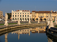 Prato della Valle, canal and houses next to the Loggia Amulea, Padova Ital