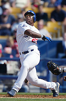 Adrian Beltre of the Los Angeles Dodgers bats during a 2002 MLB season game at Dodger Stadium, in Los Angeles, California. (Larry Goren/Four Seam Images)